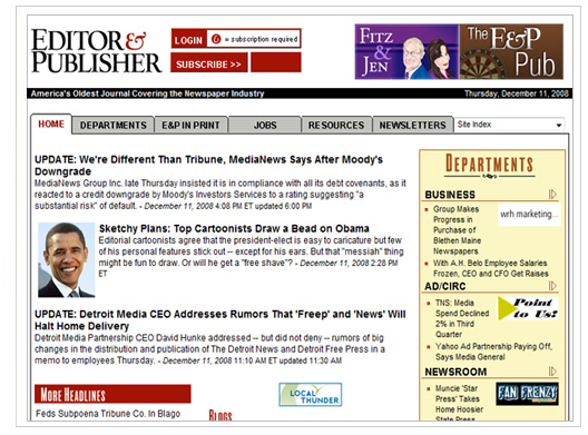 editor and publisher site screenshot
